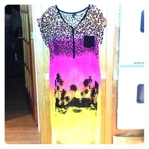Ombre leopard tropical semi sheer tunic dress